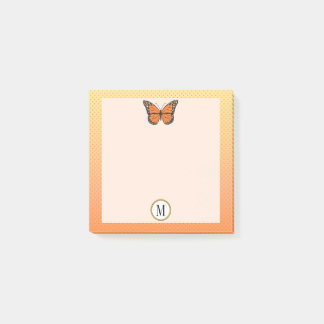 Orange Ombre & Dots Butterfly Monogram Post-it Notes