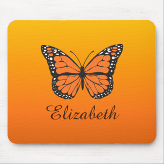 Orange Ombre Monarch Butterfly Custom Name Mouse Pad