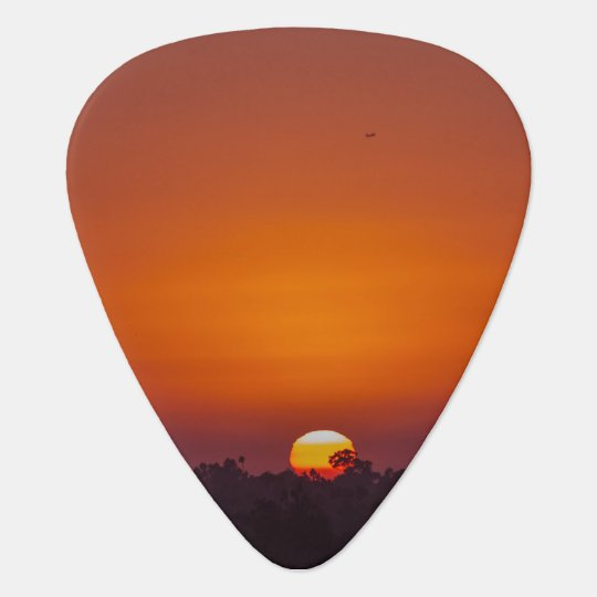 Orange Ombre Sunset with Tree and Plane Guitar Pick