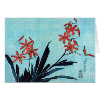 Orange Orchids, Hokusai Card