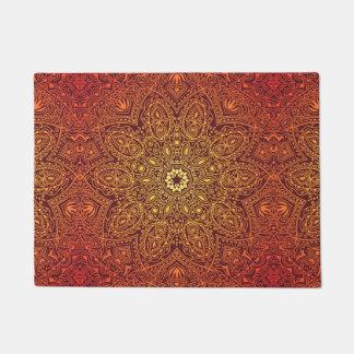 Orange Ornamental Lace Pattern Doormat