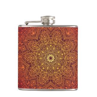 Orange Ornamental Lace Pattern Flask