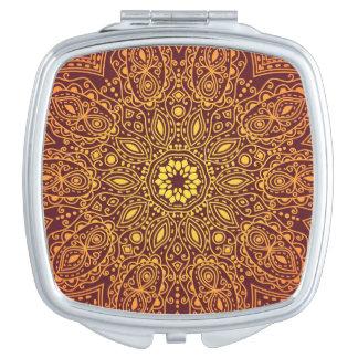 Orange Ornamental Lace Pattern Makeup Mirrors