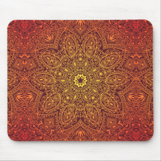 Orange Ornamental Lace Pattern Mouse Pad