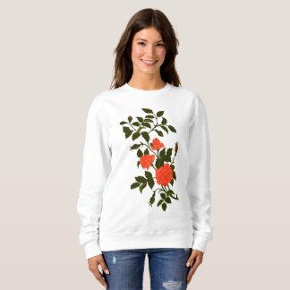 Orange Ornamental Rose Recolored Vintage Image Sweatshirt