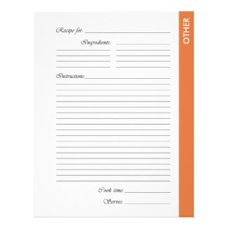 Orange OTHER 2-sided Recipe Pages