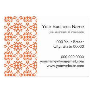Orange over White Damask Style Pattern Business Card