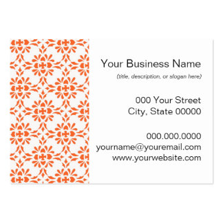 Orange over White Damask Style Pattern Large Business Card