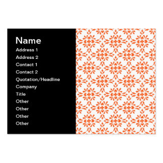 Orange over White Damask Style Pattern Pack Of Chubby Business Cards