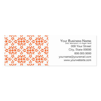 Orange over White Damask Style Pattern Pack Of Skinny Business Cards