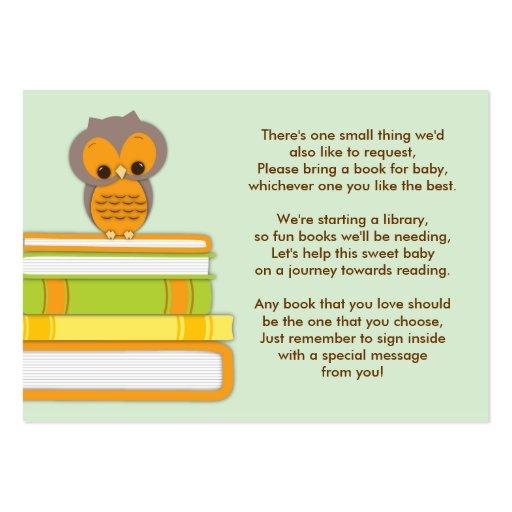 Orange Owl Baby Shower Book Insert Request Card Business Card