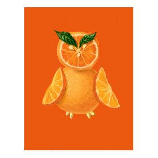 Orange owl postcard