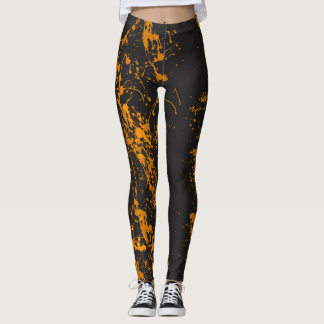 Orange Paint Brush Splatter Leggings