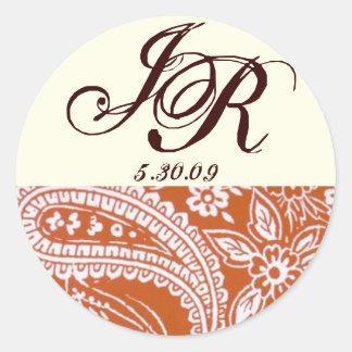 Orange paisley, ivory background, With monogram Round Sticker