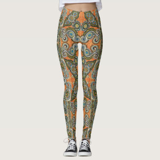orange paisley leggings