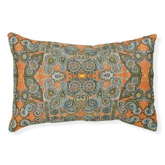 orange paisley pattern dog bed