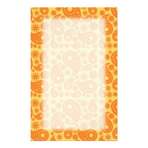 Orange Paisley. Custom Stationery