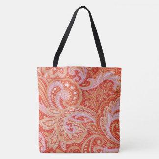 Orange Paisley Tote Bag