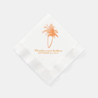 Orange Palm Trees Beach Wedding Disposable Napkin