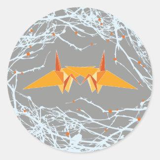 Orange Paper Cranes + Nest Branches Wedding Sticke Classic Round Sticker