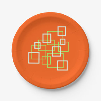 Orange Paper Plates with Green & White Squares