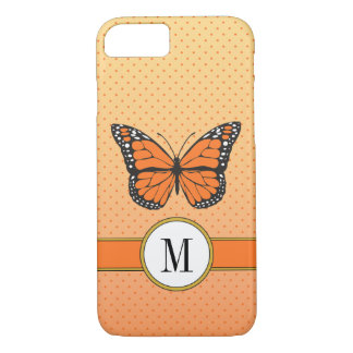 Orange Pastel Ombre & Dots Butterfly Monogram iPhone 8/7 Case