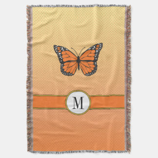 Orange Pastel Ombre with Dots Butterfly Monogram Throw Blanket