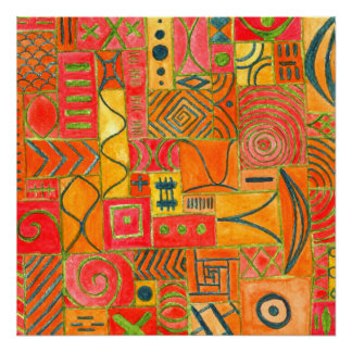 Orange Patchwork . orange, red and green Poster