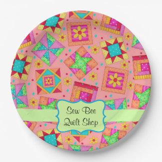 Orange Patchwork Quilt Block Name Happy Birthday 9 Inch Paper Plate