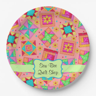 Orange Patchwork Quilt Block Name Happy Birthday Paper Plate