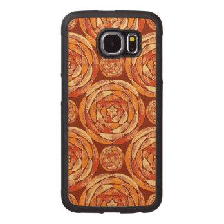 Orange pattern wood phone case