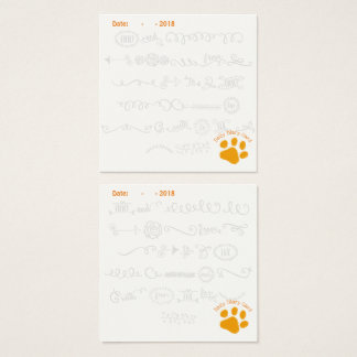 Orange Paw Daily Diary Card w/doodle letters