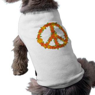 Orange Peace and Love Sign Doggie Tee Shirt