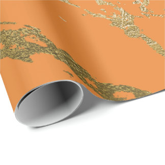 Orange Peach Gold Marble Shiny Glam Abstract VIP Wrapping Paper
