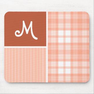 Orange, Peach Plaid Mouse Pad