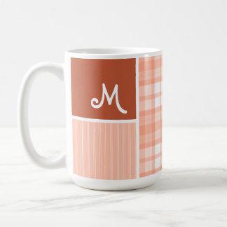 Orange, Peach Plaid Mugs