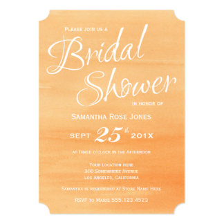 Orange Peach Watercolor Bridal Shower Invitation