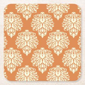 Orange Peel Southern Cottage Damask Square Paper Coaster
