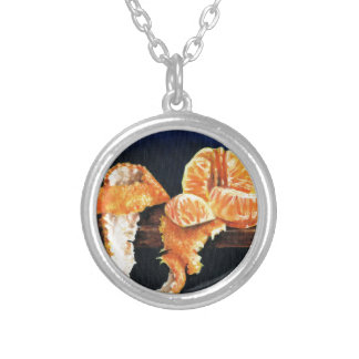 Orange, Peeled Silver Plated Necklace