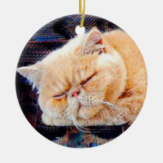 Orange Persian Cat Ceramic Ornament