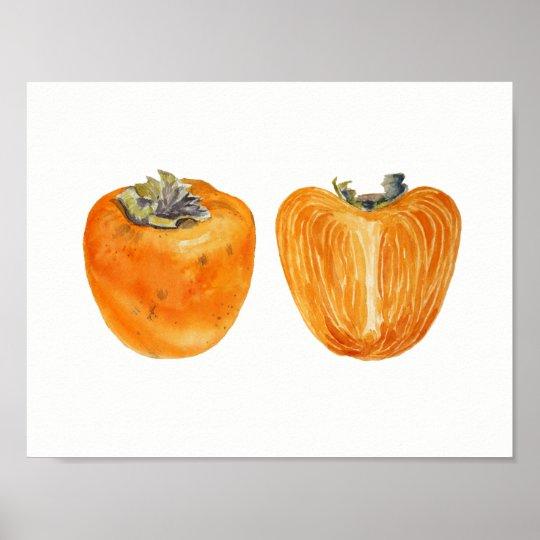 Orange Persimmon fruit watercolor painting Poster