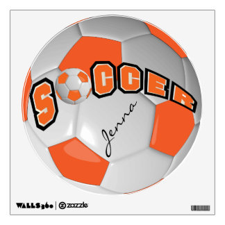 Orange Personalize Soccer Ball Wall Decal