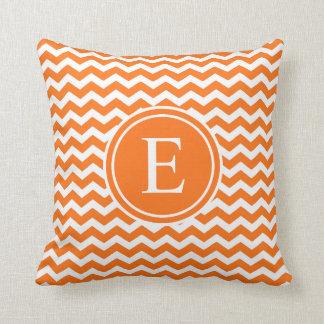 Orange Personalized Chevron Monogram Throw Pillow
