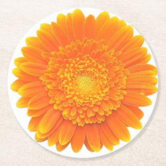 orange petals round paper coaster