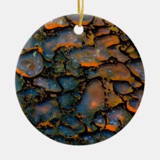 Orange Petrified dinosaur bone Ceramic Ornament