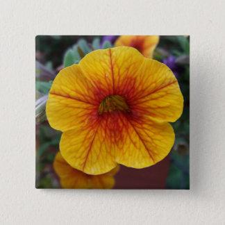 Orange Petunia 2 Inch Square Button