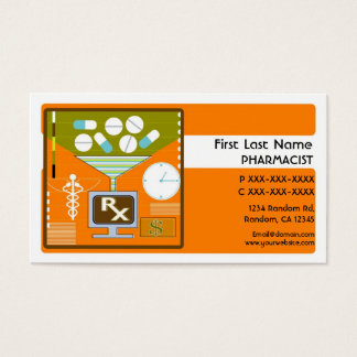 Orange pharmacist simple business cards