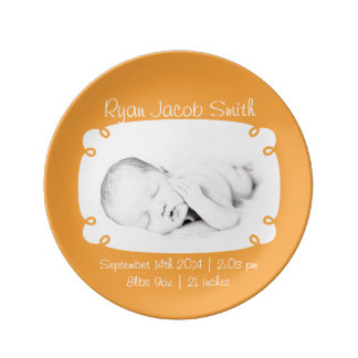 Orange Photo Ready Personalized Newborn Keepsake Plate