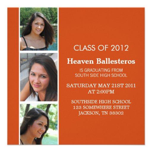 Orange Photo Strip Graduation Invites