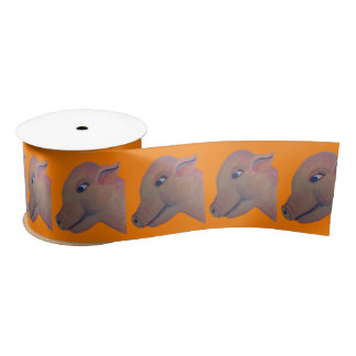 orange pig ribbon satin ribbon
